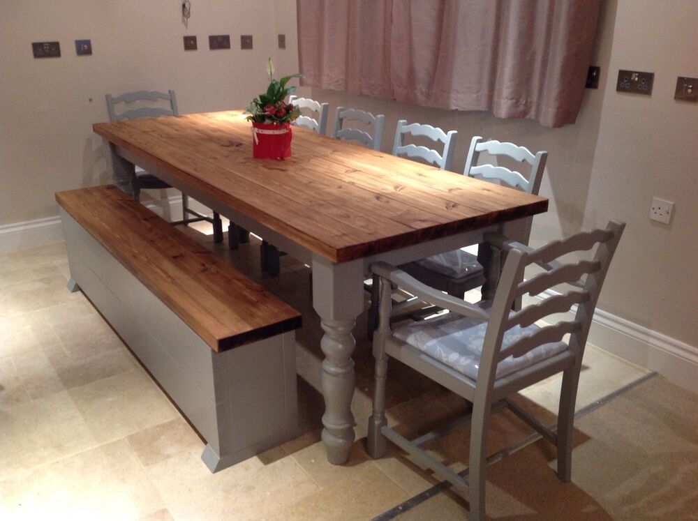 Rustic farmhouse shabby chic solid 10 seater dining table for Rustic shabby chic dining table