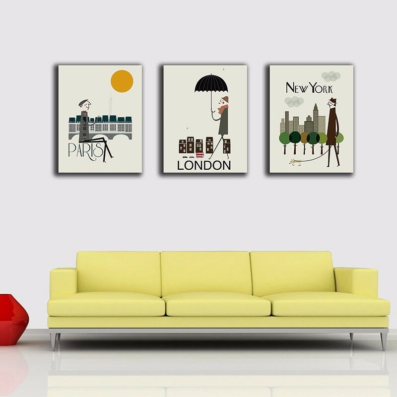 Paris London New York Stretched Canvas Prints Framed Wall