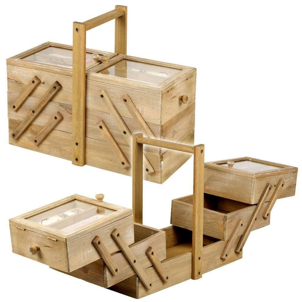 Large New Wooden Storage Box Diy Crates Toy Boxes Set: Wooden Sewing Thread Box Large Vintage Antique Cantilever