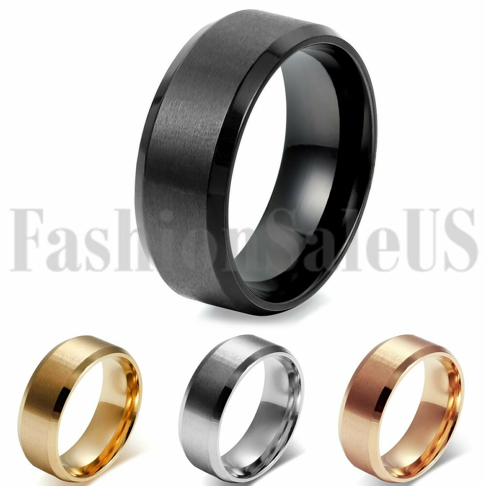 Stainless Steel Mens Wedding Band Ring 8mm: Men's 8mm Comfort Gold Silver Black Rosegold Stainless