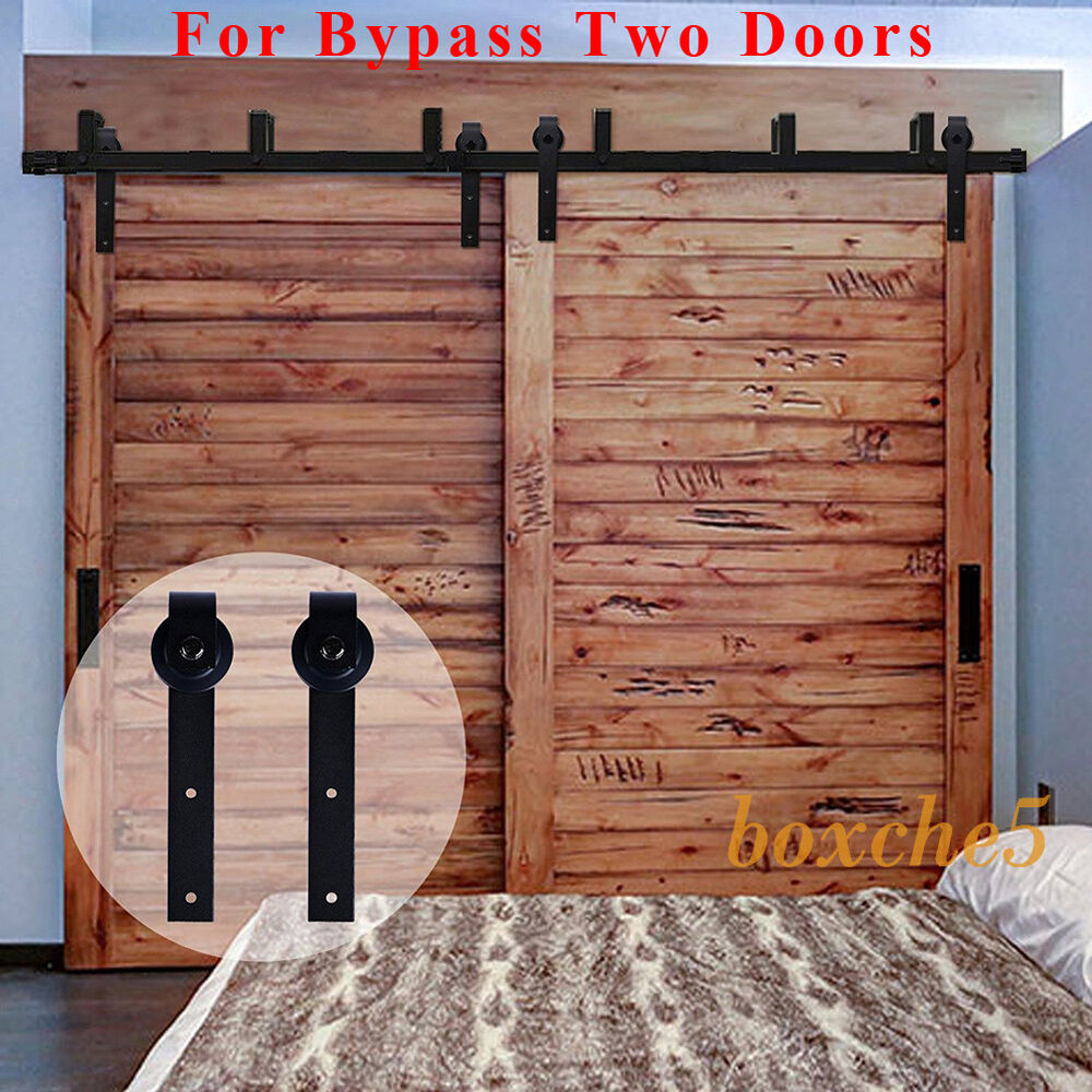 4 16ft black bypass country sliding barn double wood door for Sliding double doors