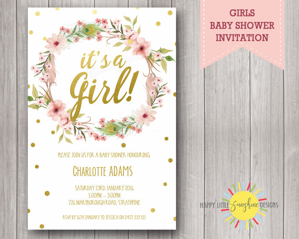Baby Shower Invites Australia ~ Custom printable baby shower invitation floral feathers