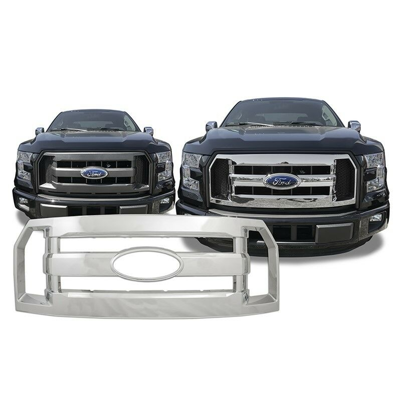 chrome grille overlay fits 39 16 2016 39 17 2017 ford f150 f. Black Bedroom Furniture Sets. Home Design Ideas