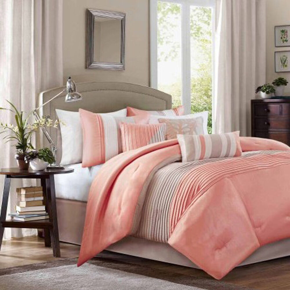 Bedding Comforter Set King Size 7 Piece Soft Luxury Sheets Polyester Coral New Ebay