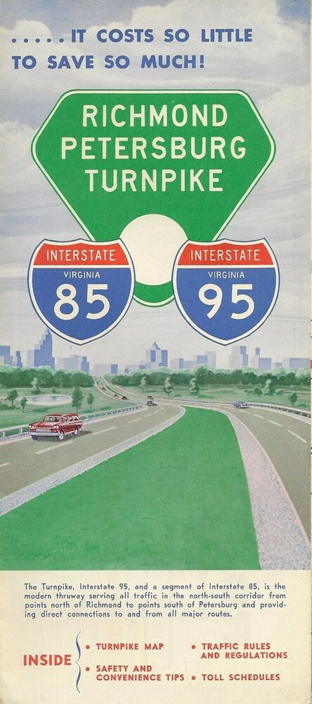 Richmond Traffic Map.1963 Toll Road Map Brochure Richmond Petersburg Turnpike Virginia I