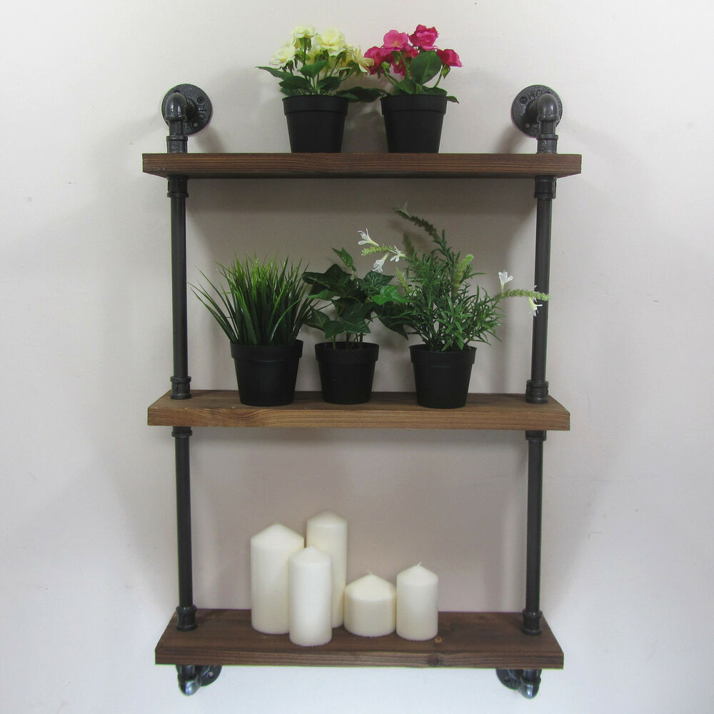 urban retro industrial iron pipe shelving shelves natural wood 3 tiers shelf ebay. Black Bedroom Furniture Sets. Home Design Ideas