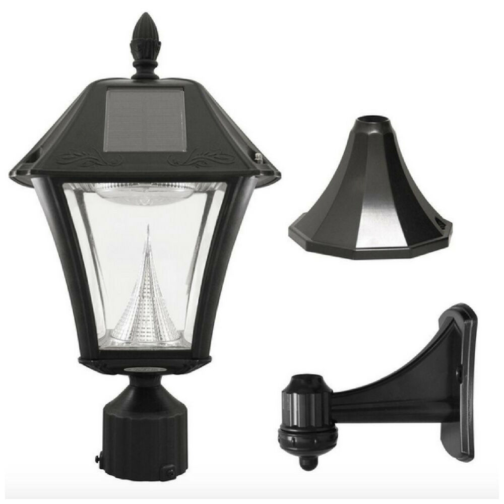 Solar led black outdoor street post pole wall mount light lamp lighting fixture ebay for Solar exterior post lantern light