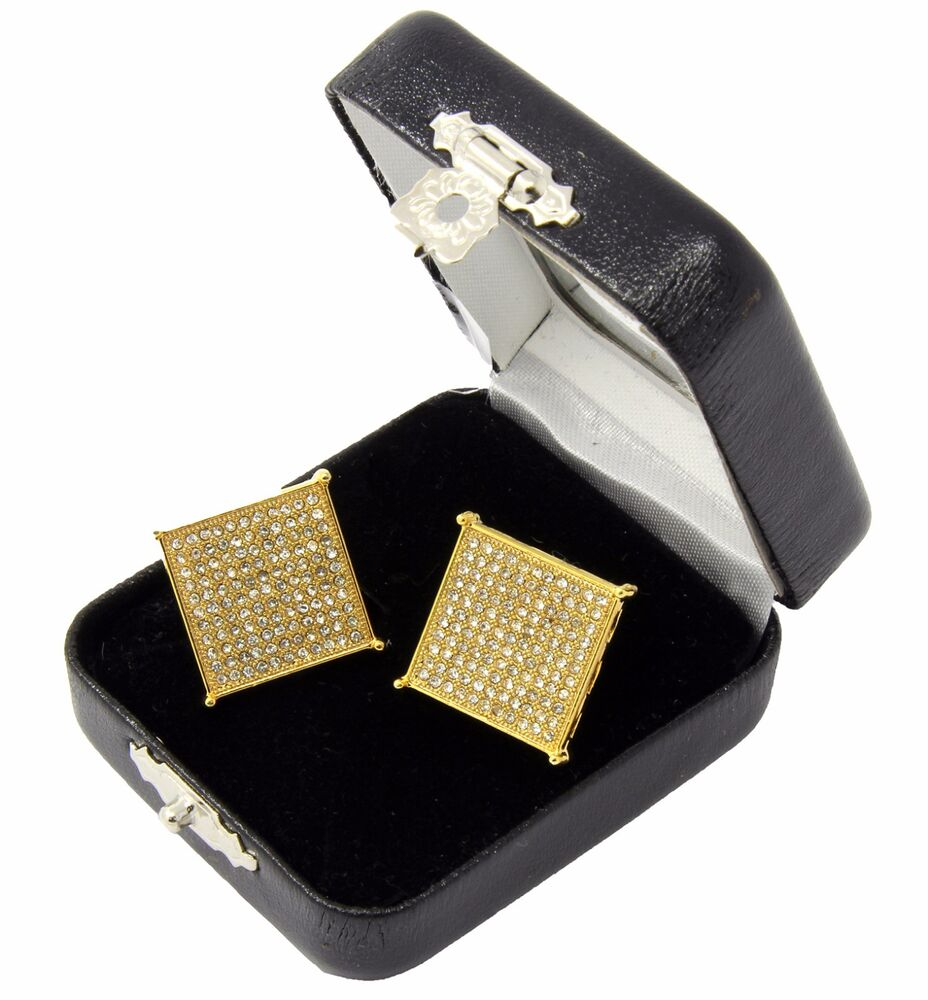 Hip Hop Earrings: Men's Hip Hop Iced Out Large Square Flat Screen Block