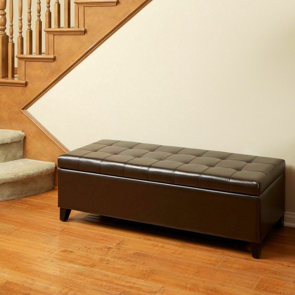 Elegant Design Brown Leather Storage Ottoman Bench W