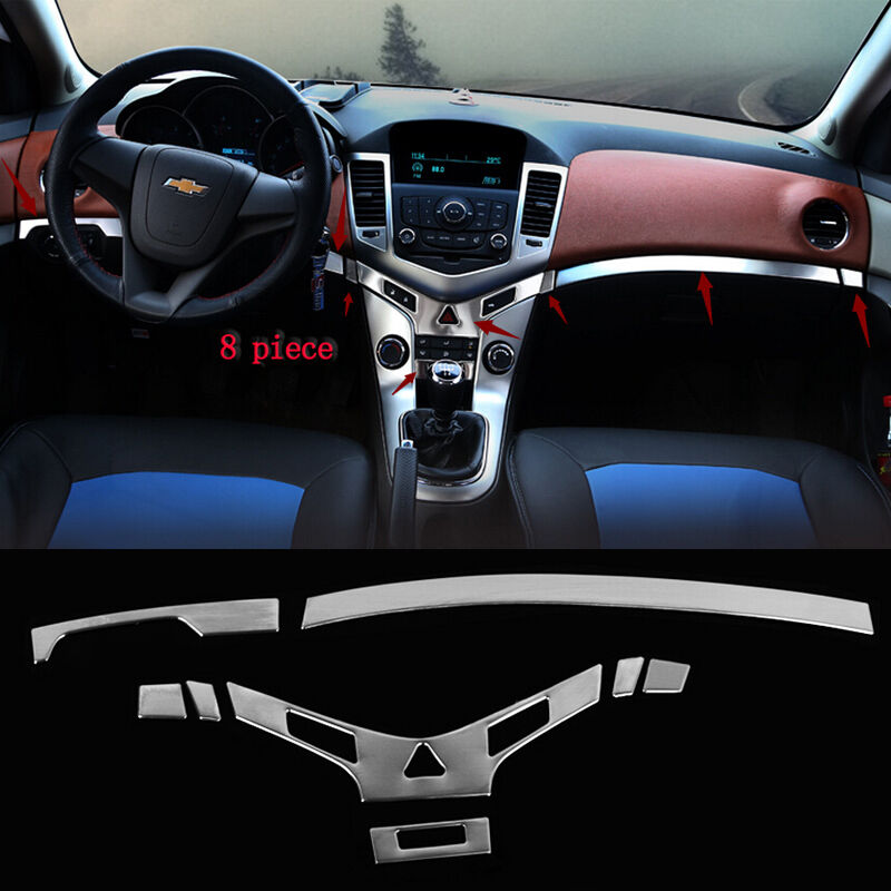 8pcs Stainless Interior Middle Console Cover Trim For Chevrolet Cruze 2009 2014 Ebay