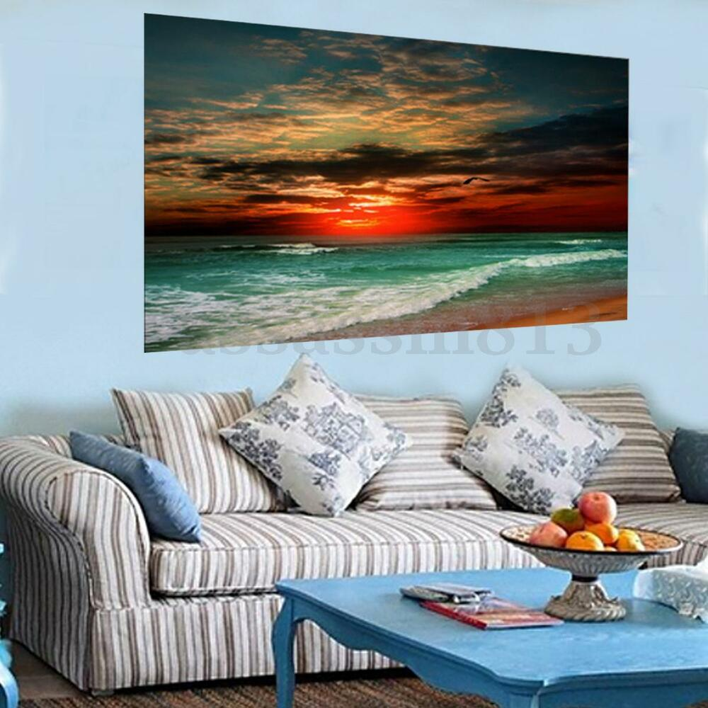Home Decor Canvas Print Big Modern Seascape Beach Wall Art ...