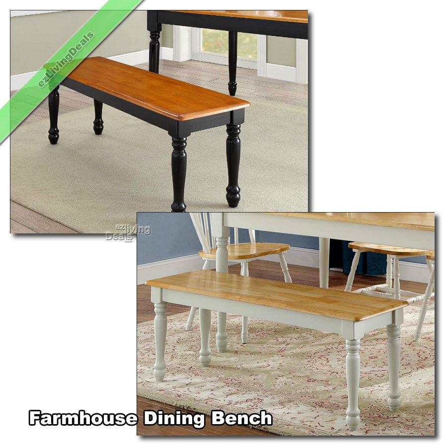 Dining Benches: Farmhouse Dining Bench Kitchen Room Wood Country Seat