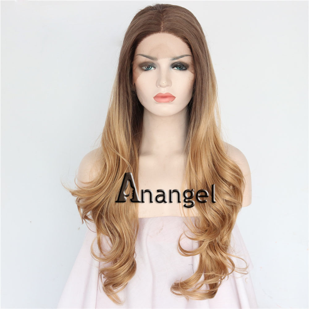 Long Wavy Light Brown Lace Front Wigs Ombre Blonde