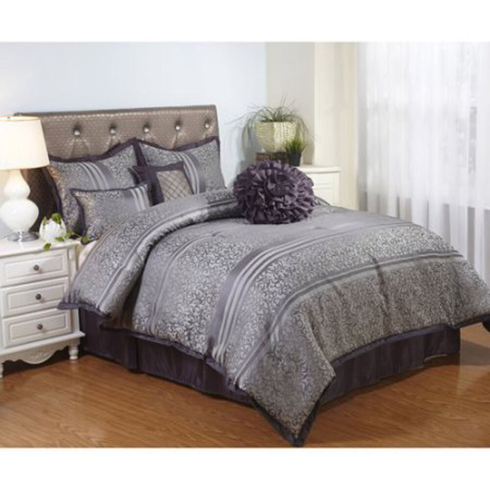 Bedding Comforter Set Polyester 7 Piece Bed In A Bag Cal King Size Stripped Gray Ebay