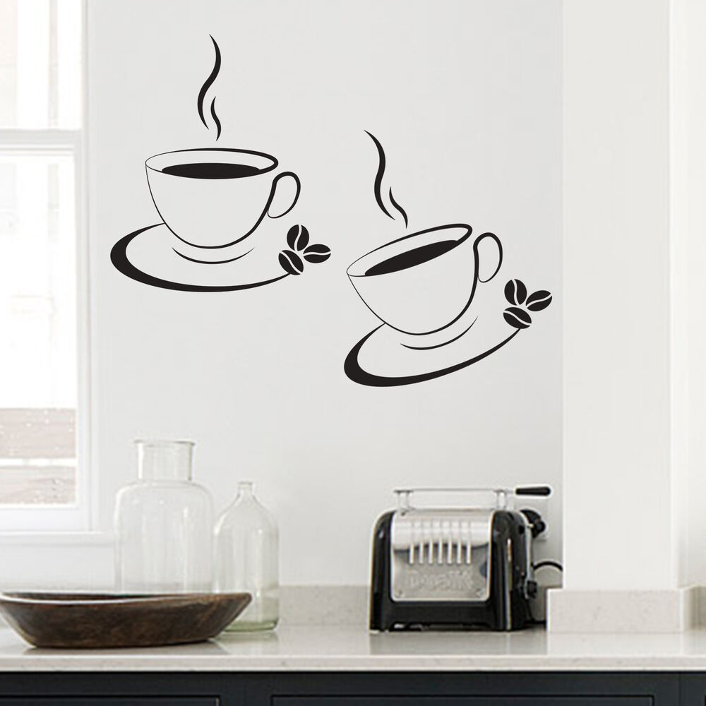 2 x coffee cup kitchen cafe wall art decal transfers for Wall art decals