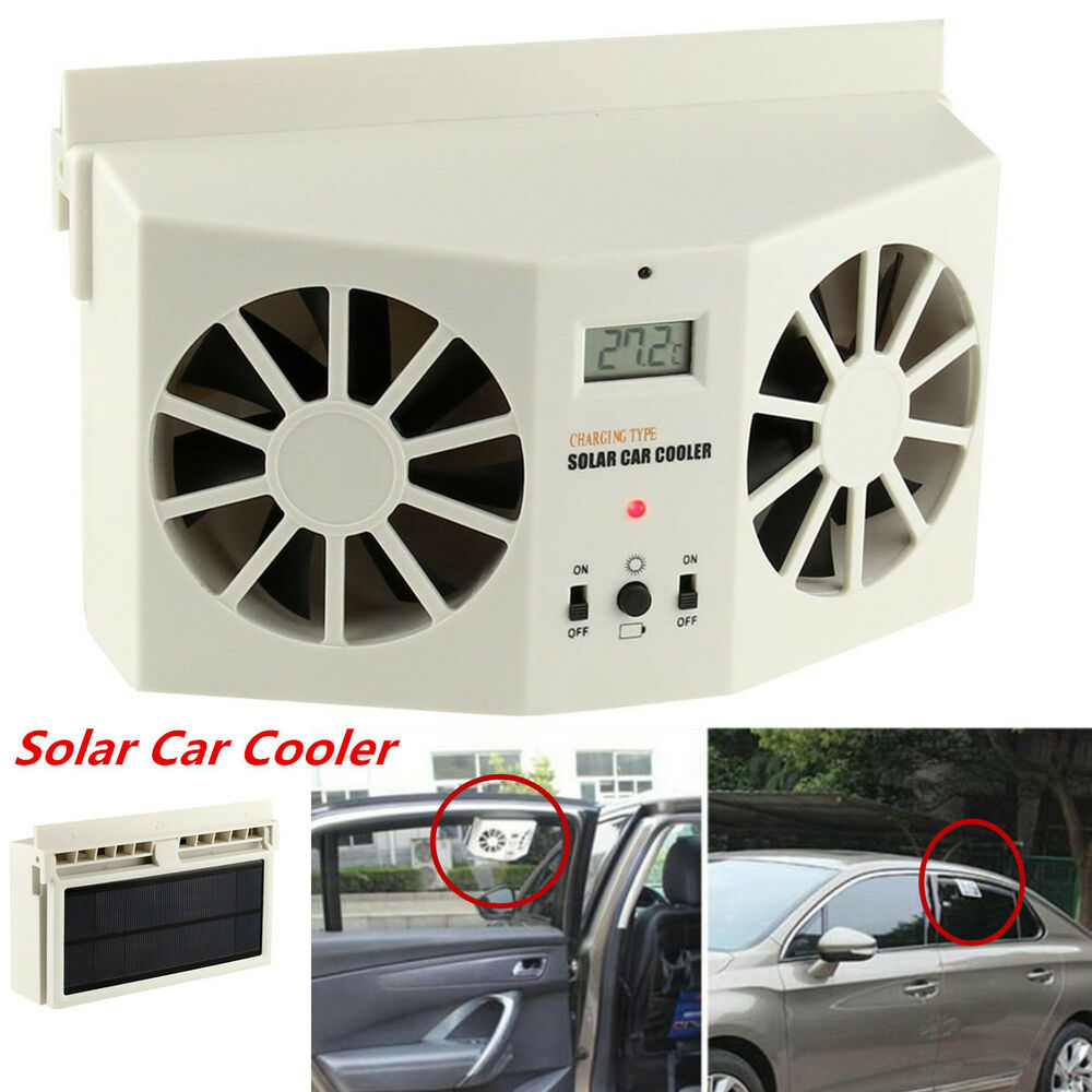 solar powered auto window air vent cool dual fan cooler ventilation system ivory ebay. Black Bedroom Furniture Sets. Home Design Ideas