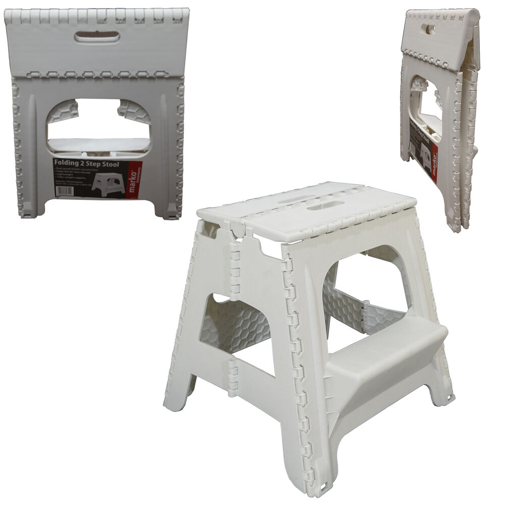PLASTIC 2 STEP FOLDING STEP STOOL TALL HOME KITCHEN GARAGE