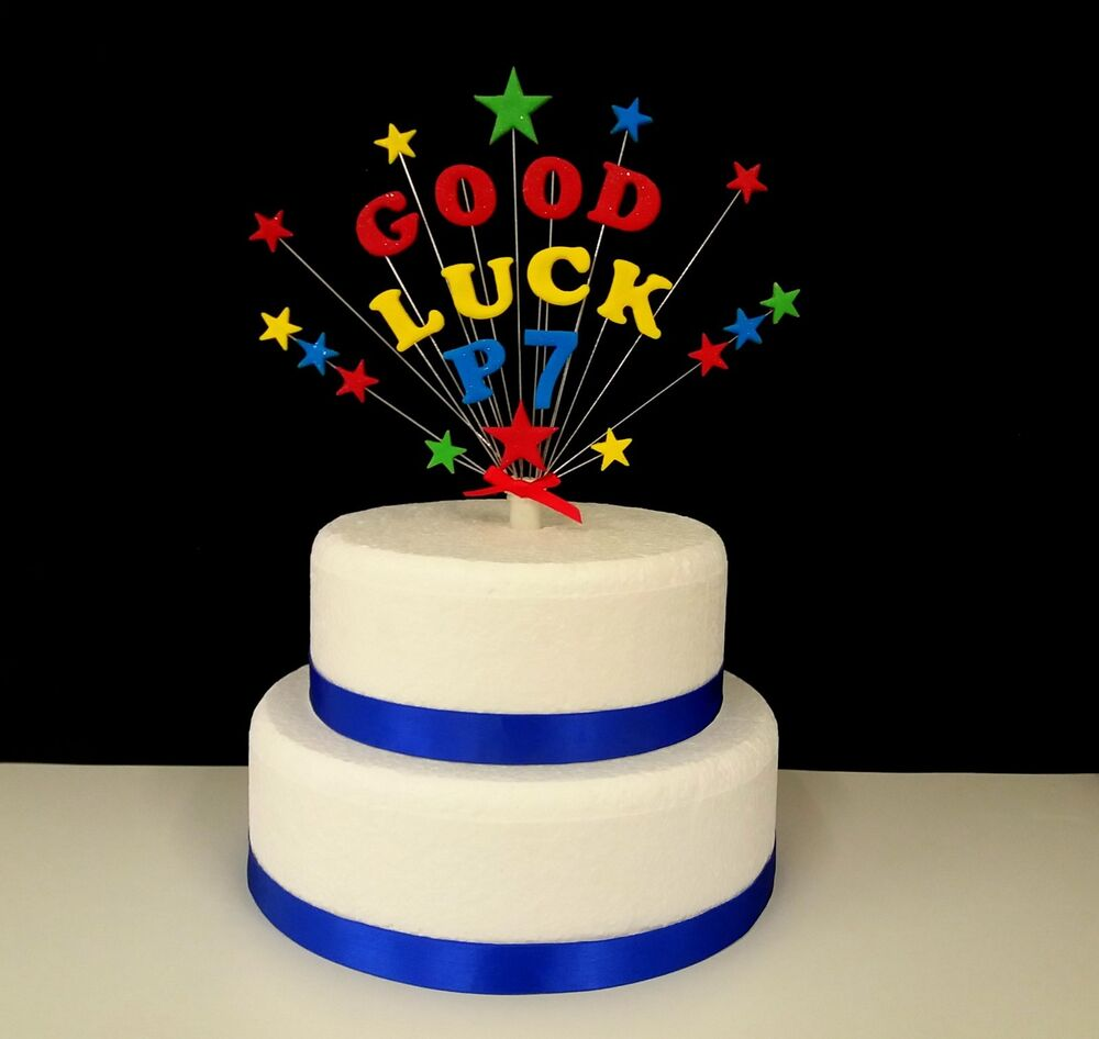 Details About Personalised GOOD LUCK Stars Birthday Celebration Cake Topper
