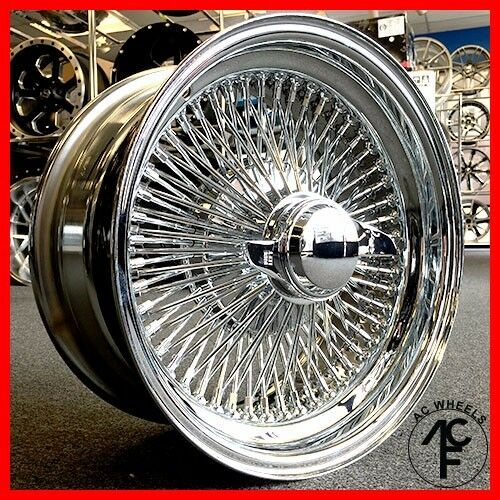 """Lowrider Rims And Tires >> 15x7 STD 100 SPOKE WIRE WHEELS STRAIGHT LACE CHROME (4 lug adapter) 4-4.25"""" 