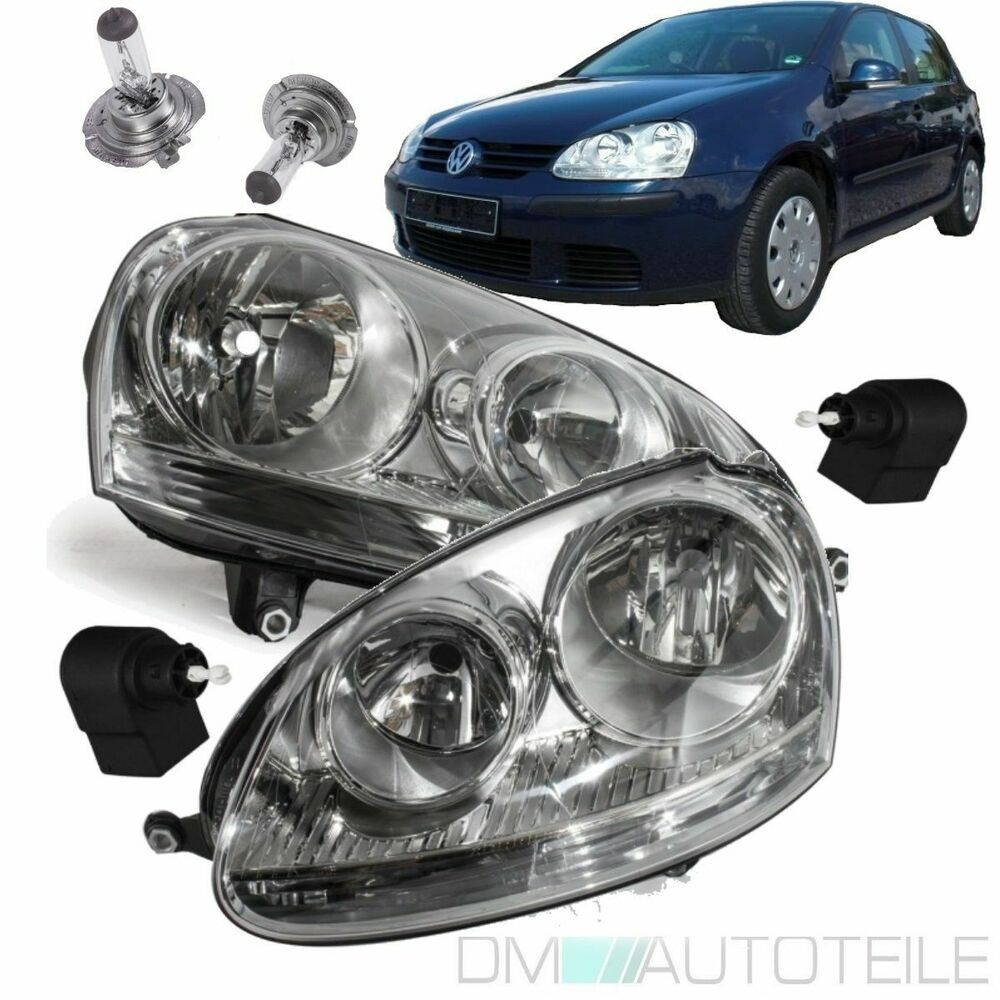 vw golf 5 v jetta scheinwerfer chrom halogen satz links. Black Bedroom Furniture Sets. Home Design Ideas