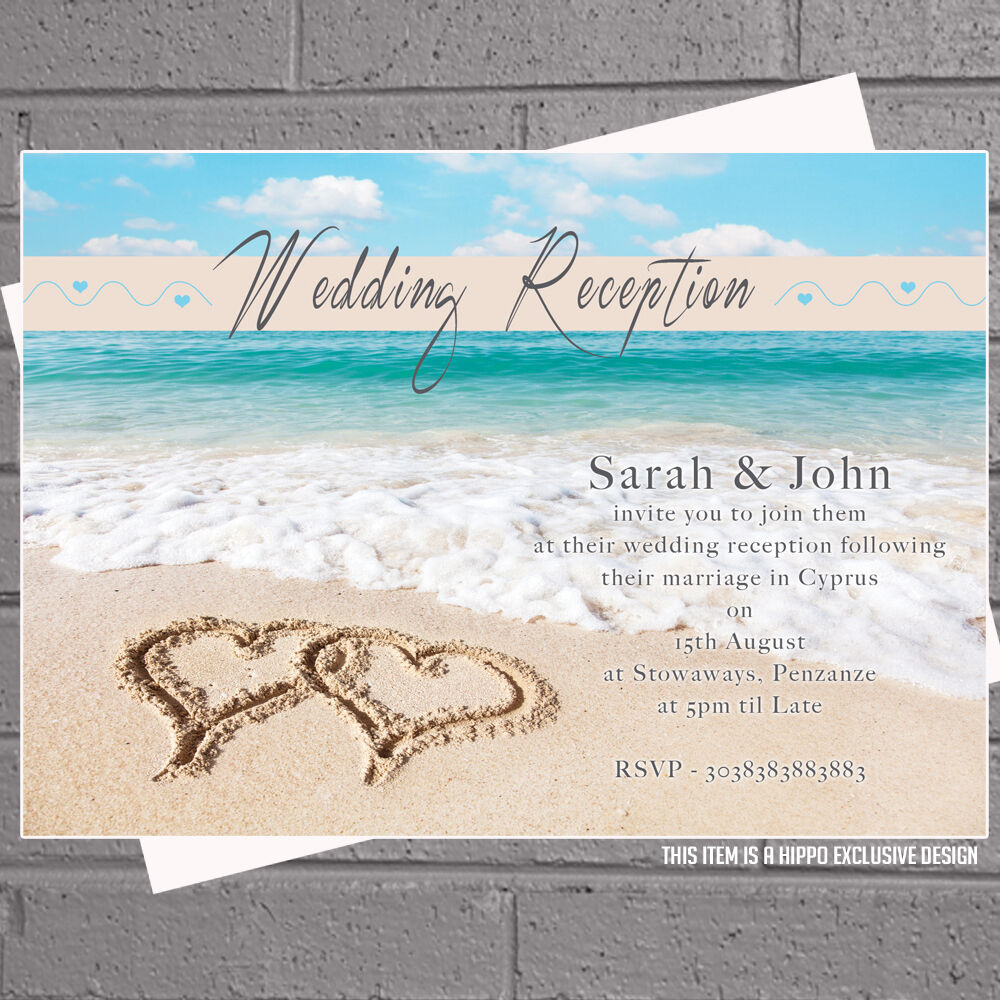 Personalised Beach Heart Abroad Wedding Reception Invitations x 12 + ...