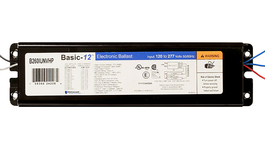 B260IUNVHP Electronic Ballast for F96T12 Fluorescent Lamps ...