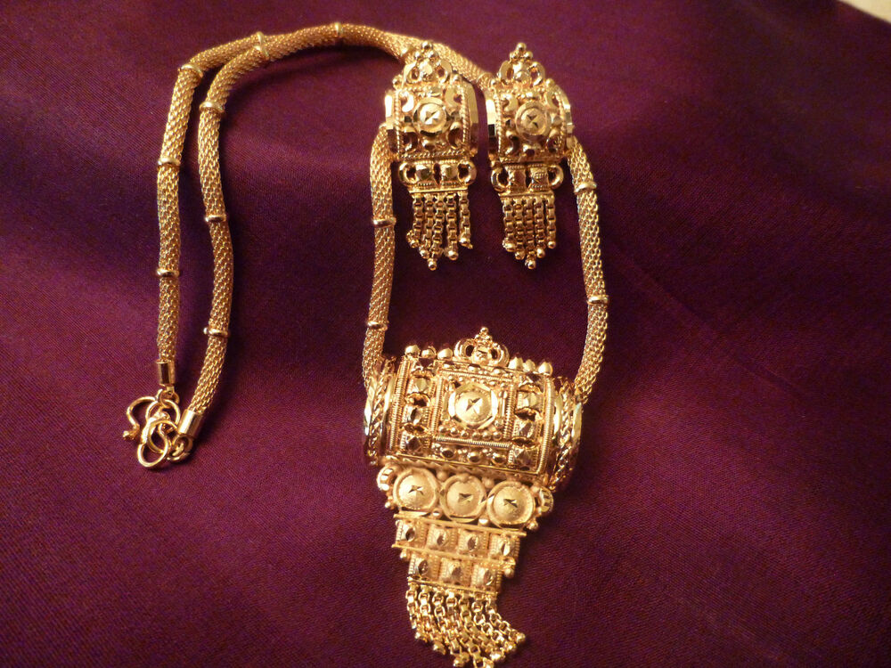 gold plated earrings necklace set indian style bollwood