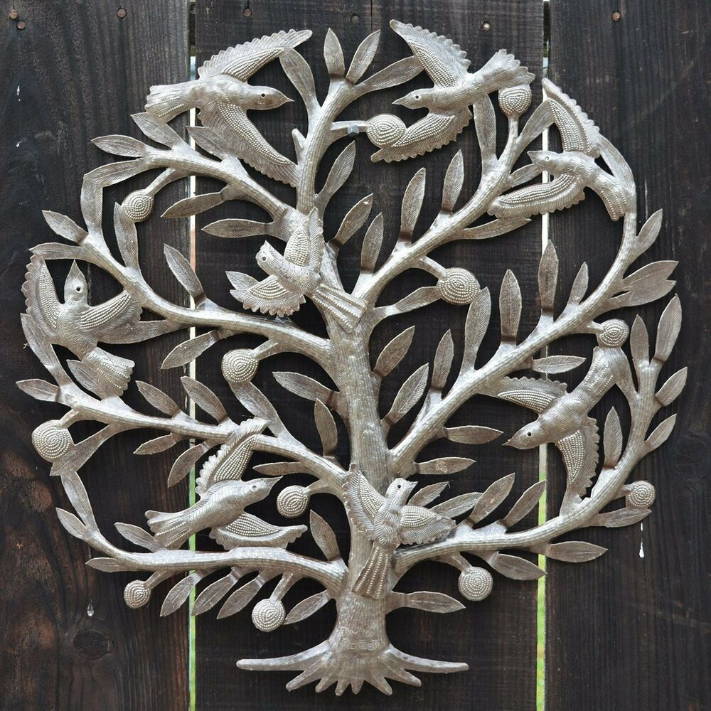 Tree of life wall art garden recycle outdoor metal decor for Outdoor metal wall art