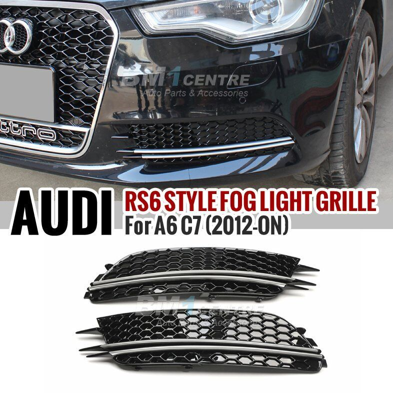 RS6 STYLE HONEYCOMB FRONT FOG LAMP COVER FOR AUDI A6 C7