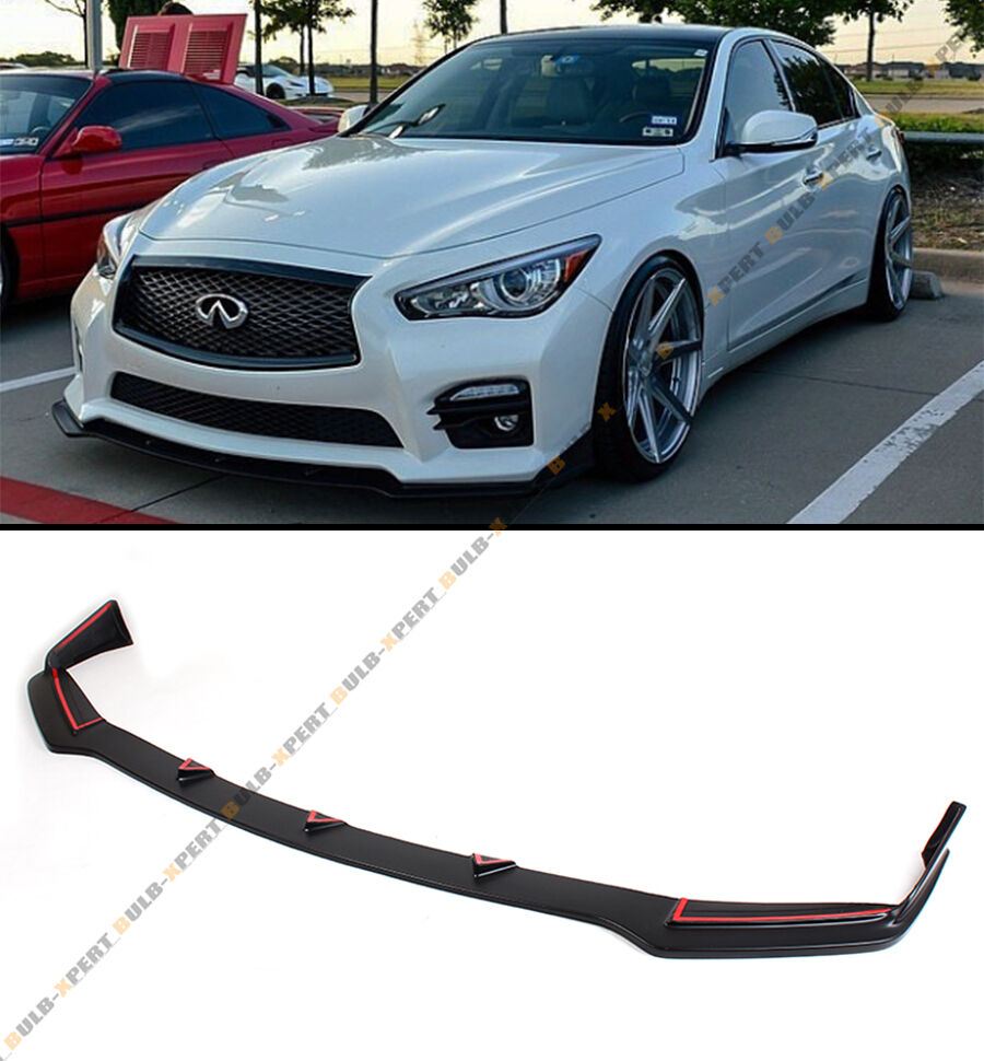 front bumper lip spoiler splitters fits for 2014 2017 infiniti q50 sport model ebay. Black Bedroom Furniture Sets. Home Design Ideas