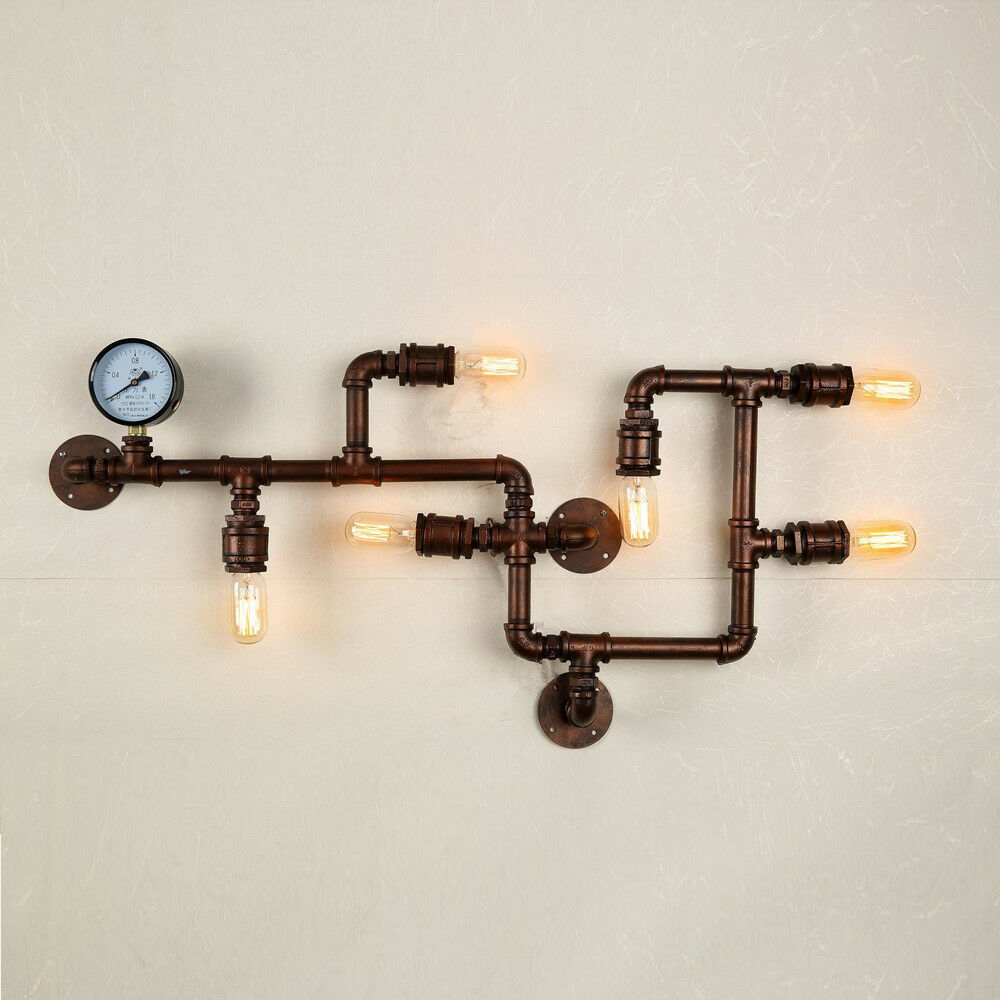 Industrial Pipe Wall Light: Industrial Wall Lamp Home Fixtures Cafe Shop Bar Lighting