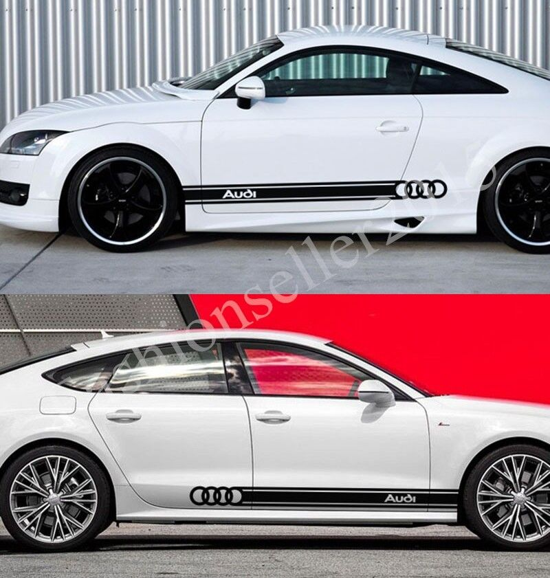 1pair decal vinyl car stickers for audi a3 a4 a6 side waist line auto decoration ebay. Black Bedroom Furniture Sets. Home Design Ideas