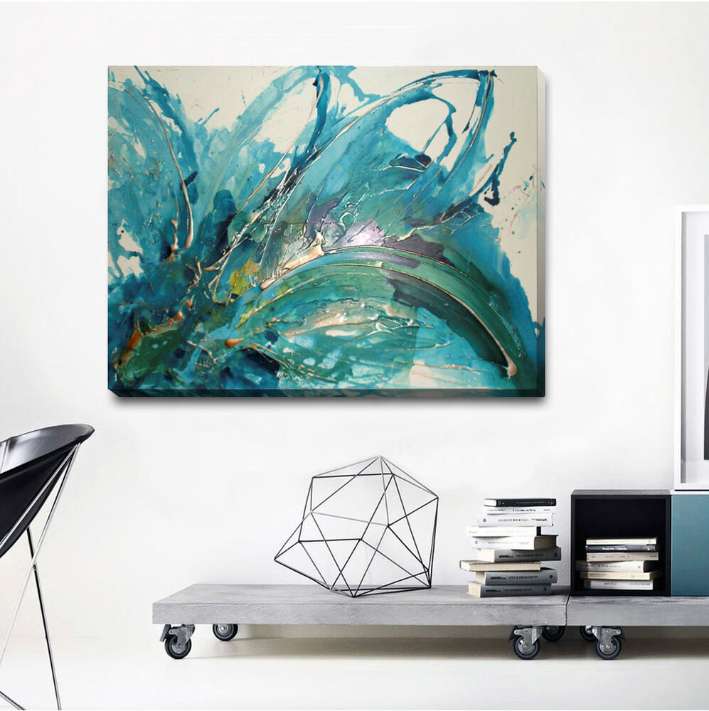 Abstract stretched canvas print framed wall art home for Abstract wall art