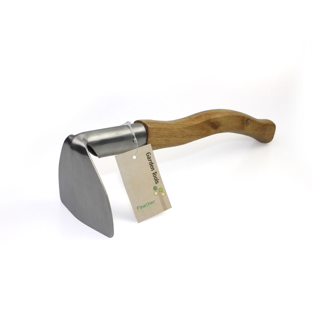 Finether stainless steel digging weeding hoe wooden handle for Stainless steel garden tools