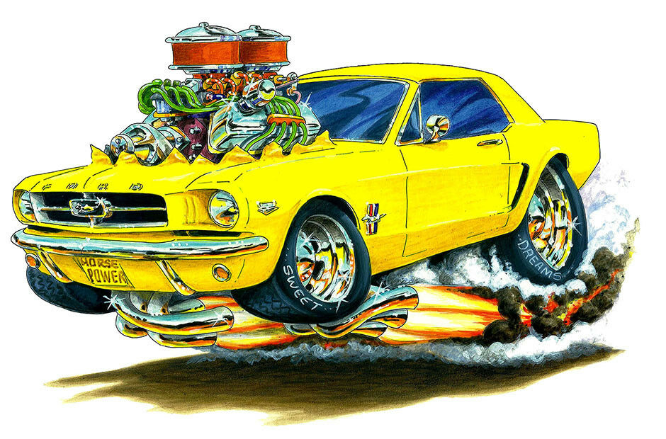 1964 ford mustang muscle car art print new ebay