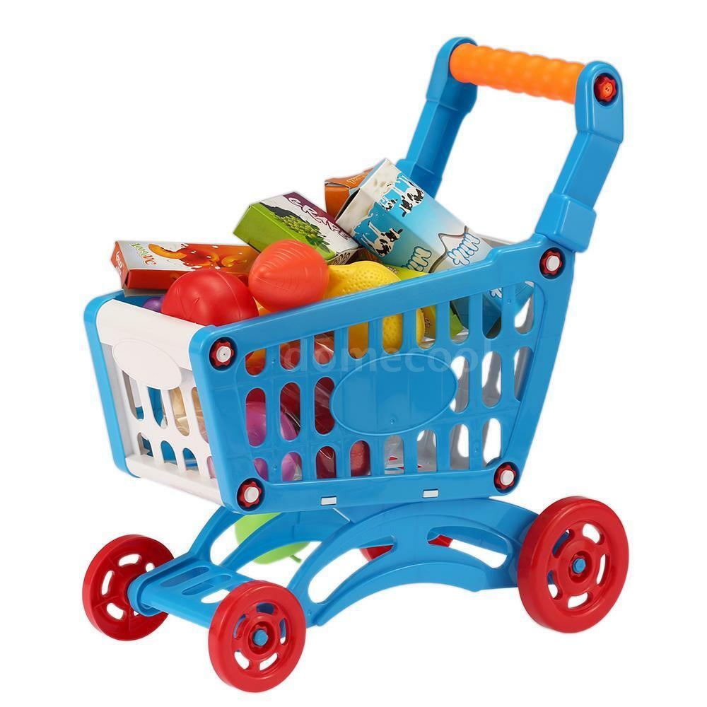Kids Childrens Shopping Trolley Cart Role Play Set Toy