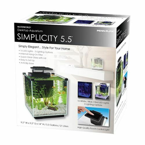 Penn plax simplicity 5 5 gallon cube style glass desktop for 5 gallon glass fish tank