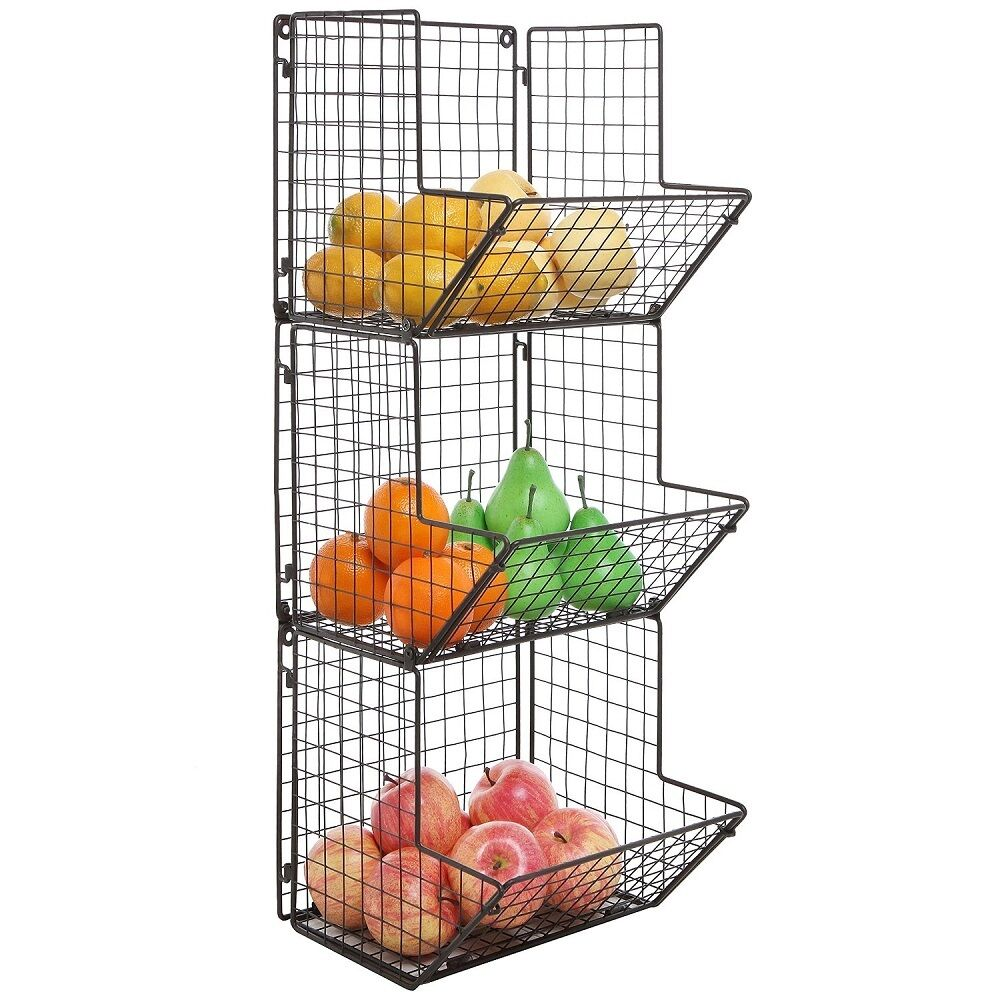 Kitchen Shelf Metal: Wall Mount Rack Fruit Basket Holder Storage Metal Wire 3