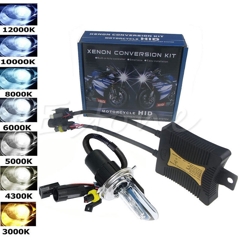55w hid h4 hi lo dual beam bi xenon motorcycle bulb headlight conversion kit ebay. Black Bedroom Furniture Sets. Home Design Ideas