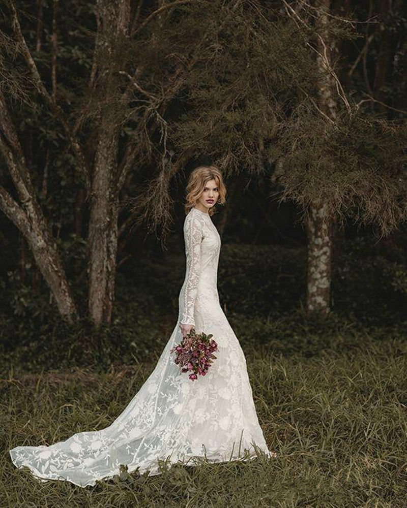 Long Sleeve Lace Wedding Dresses: Elegant Lace Bohemian Long Sleeve Wedding Dress A-Line