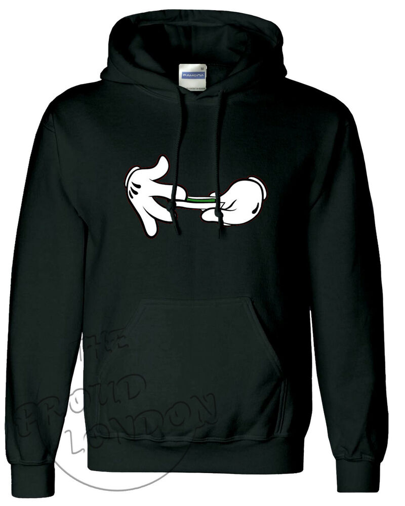 MICKEY MOUSE HANDS ROLLING WEED DOPE FASHION UNISEX HOODIE ...
