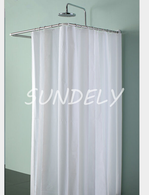 New Fabric Bathroom Shower Curtain White Extra Long And Extra Wide With Hooks Ebay
