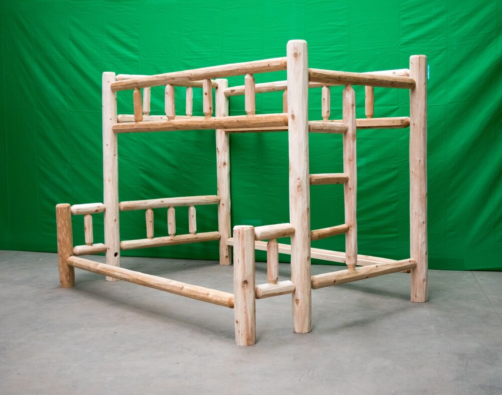 Premium Log Bunk Bed Twin Over Full 649 Free Shipping
