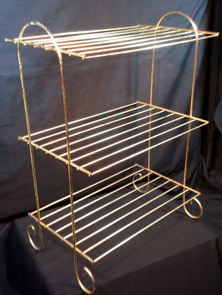 Vtg Metal Wire 3 Tier Plant Stand Gold Tone Wire Mid