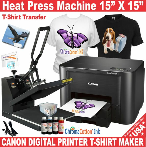 HEAT PRESS 15X15 TRANSFER SUBLIMATION + CANON PRINTER T-SHIRT MAKER START PACK