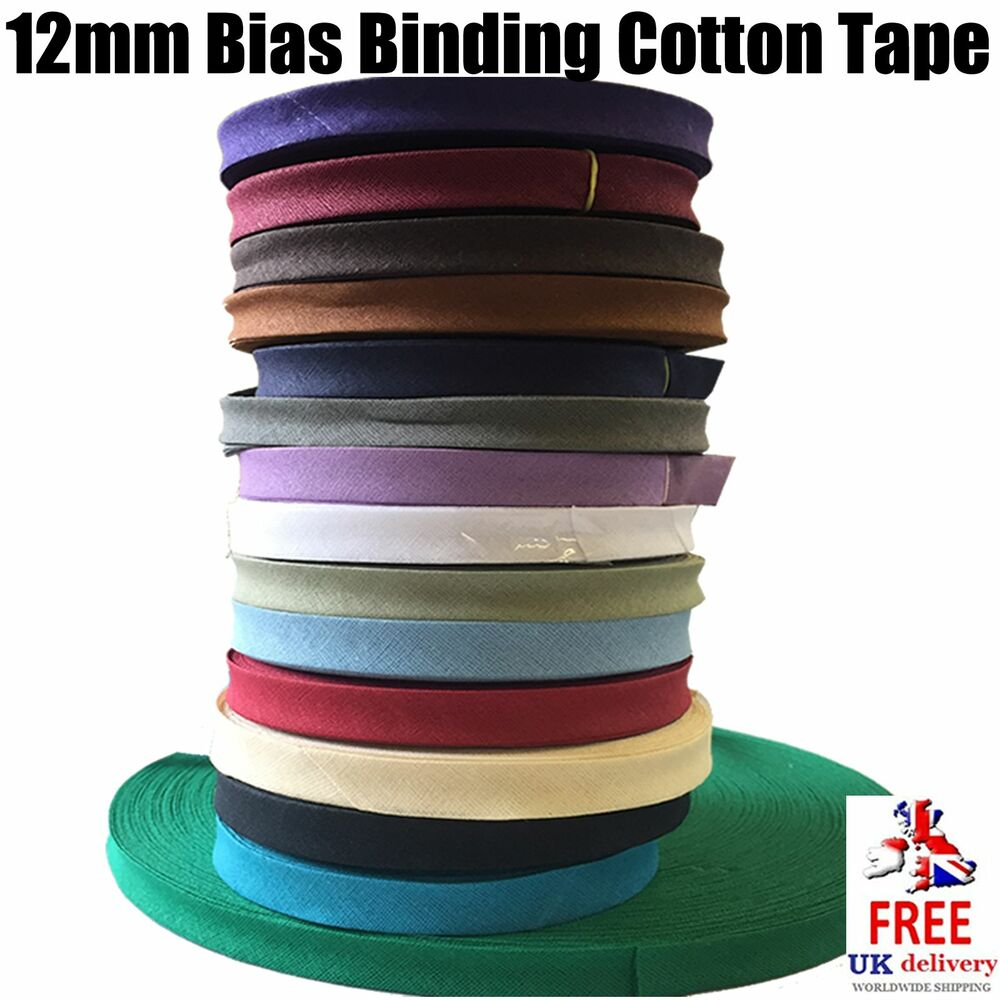 12mm Bias Binding Cotton Tape. Webbing, Aprons, Bunting