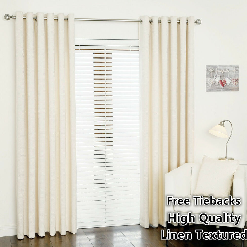 75 Blockout Curtain Linen Texture Thermal Insulated Eyelet Top Curtain Creamy Ebay