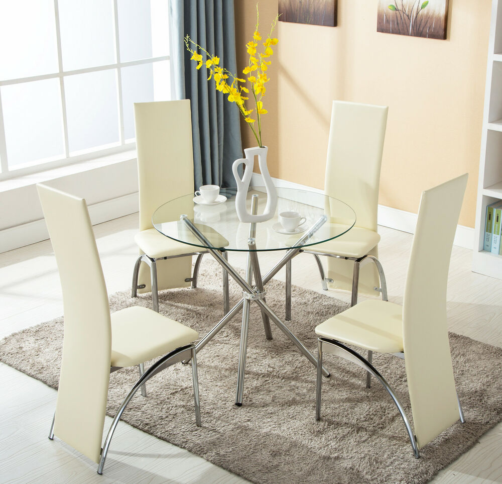 Breakfast Set Table: 4 Chairs 5 Piece Round Glass Dining Table Set Kitchen Room
