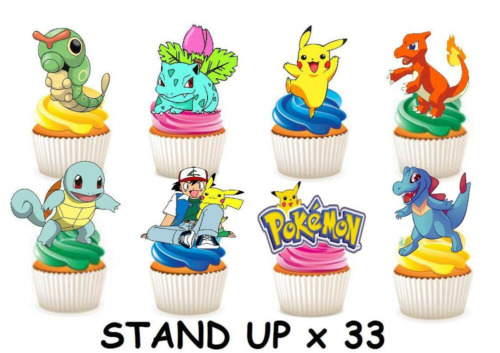 33 POKEMON STAND UP Edible Cupcake Fairy Cake Topper ...