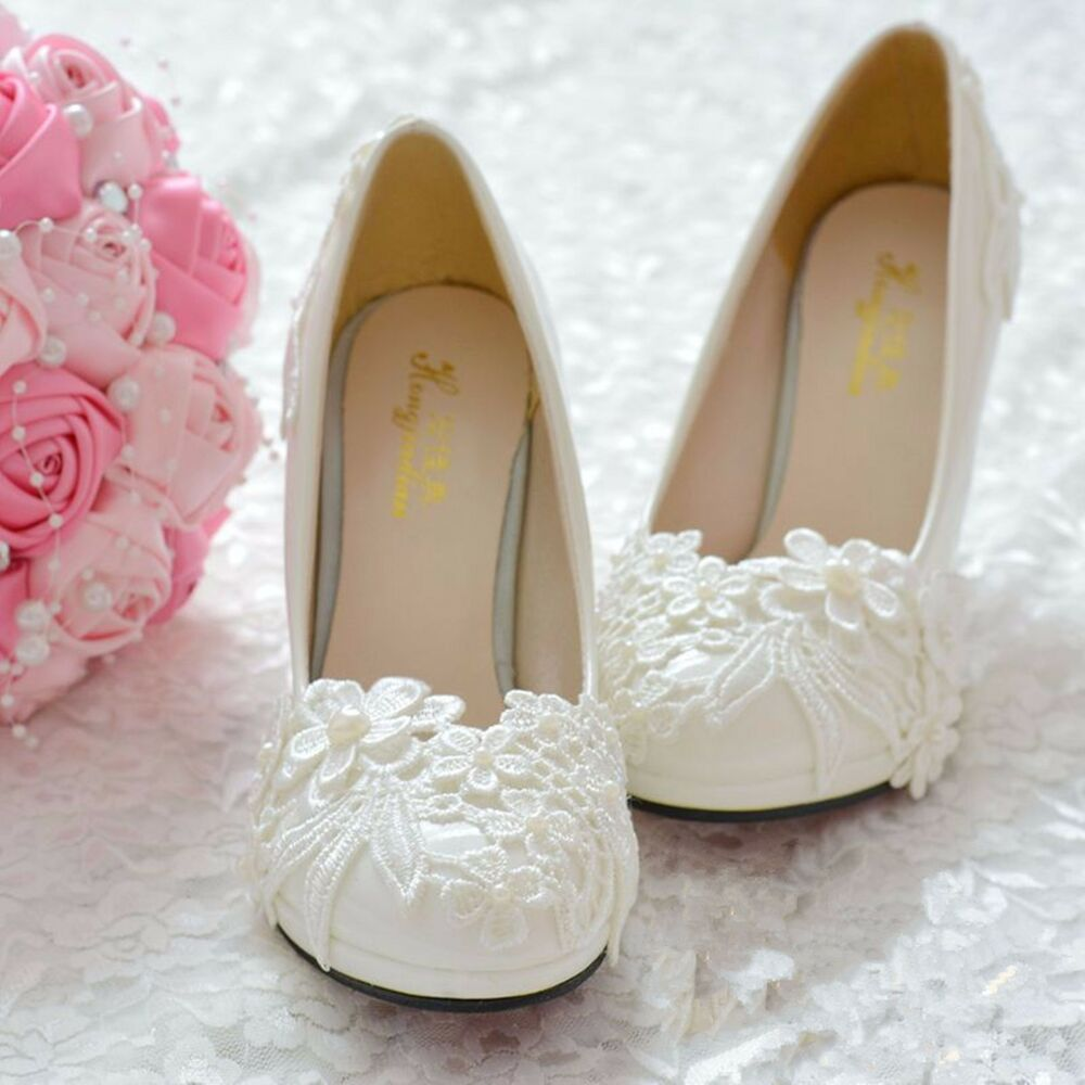 Heels Or Flats For Wedding: Wedding Shoes White Lace Formal Bridesmaid Bridal Flats